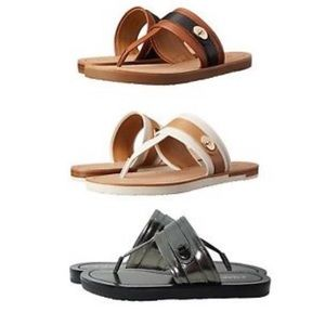 COACH EILEEN SILVER TAN LEATHER SANDALS NEW NO TAG